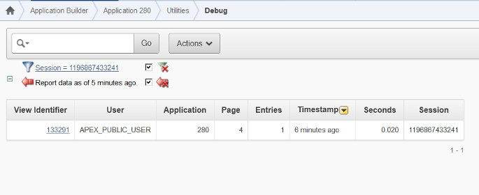APEX debug messages report