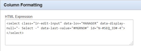 Manager column formatting